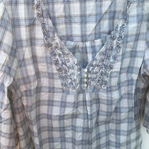 Blue/ Gray Checkered Print Blouse